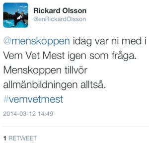 Rickard Olsson twittrar om menskopp i Vem vet mest? i SVT