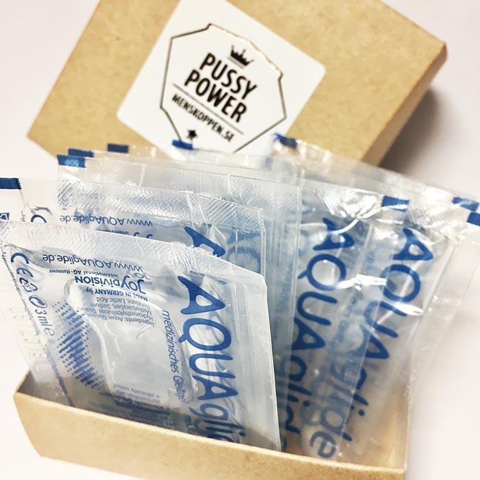 Vattenbaserat glidmedel, 10-pack i Pussy Power-låda
