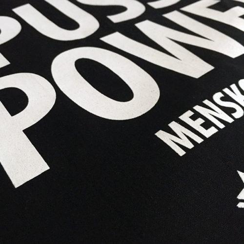 Detalj Tygkasse Pussy Power® Menskoppen.se
